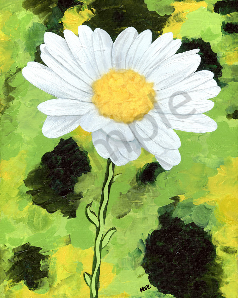 Acrylic mixed-media white daisy - 'Serenity' painted by artist Mary Anne Hjelmfelt.