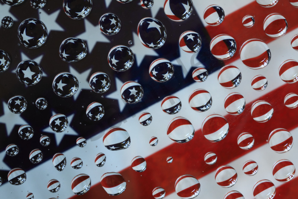 Old Glory in bubble reflections