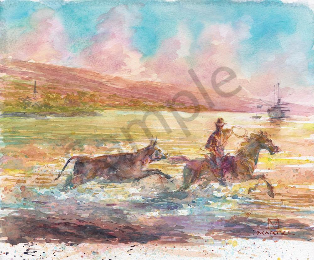 Hawaii Watercolor Art   Cattle Ship by Mark Martel