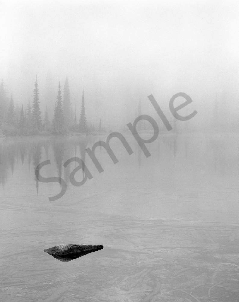Fog shrouded Louise Lake in Mt. Rainier National Park, Washington