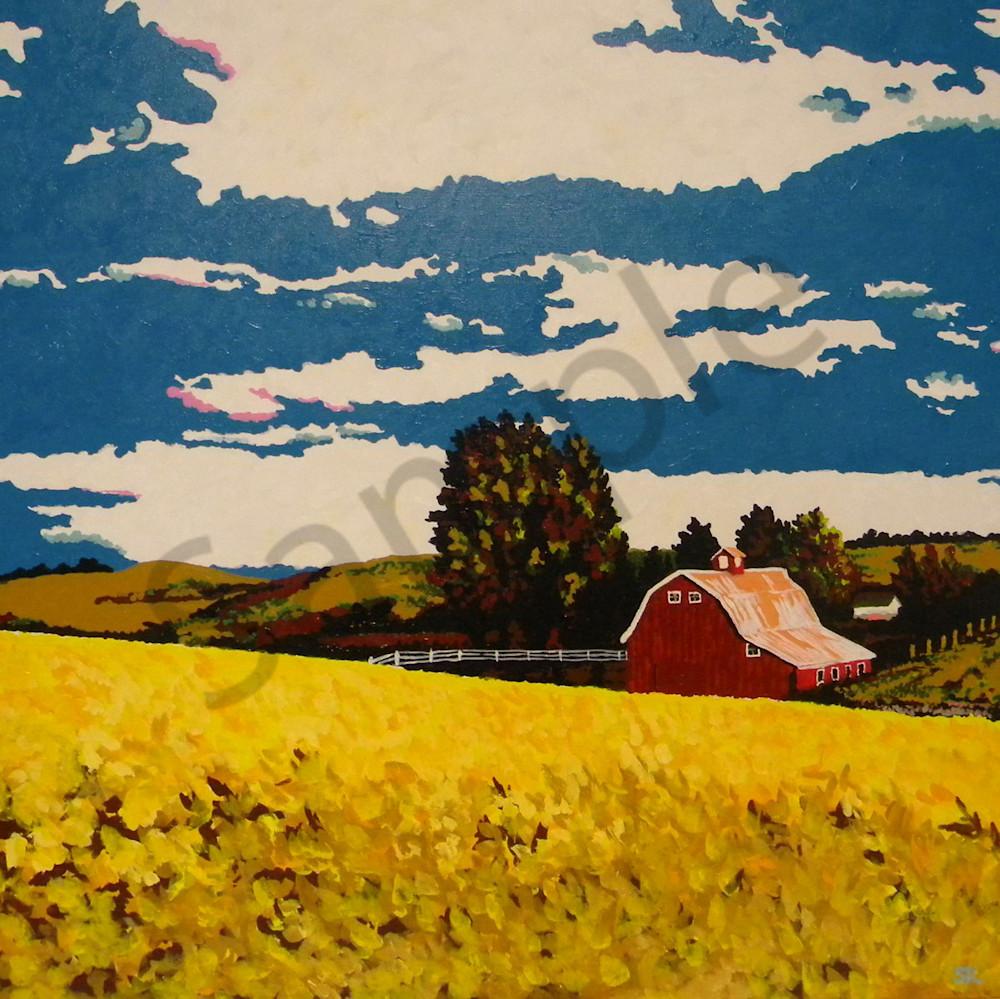 Kansas red barn wheat field