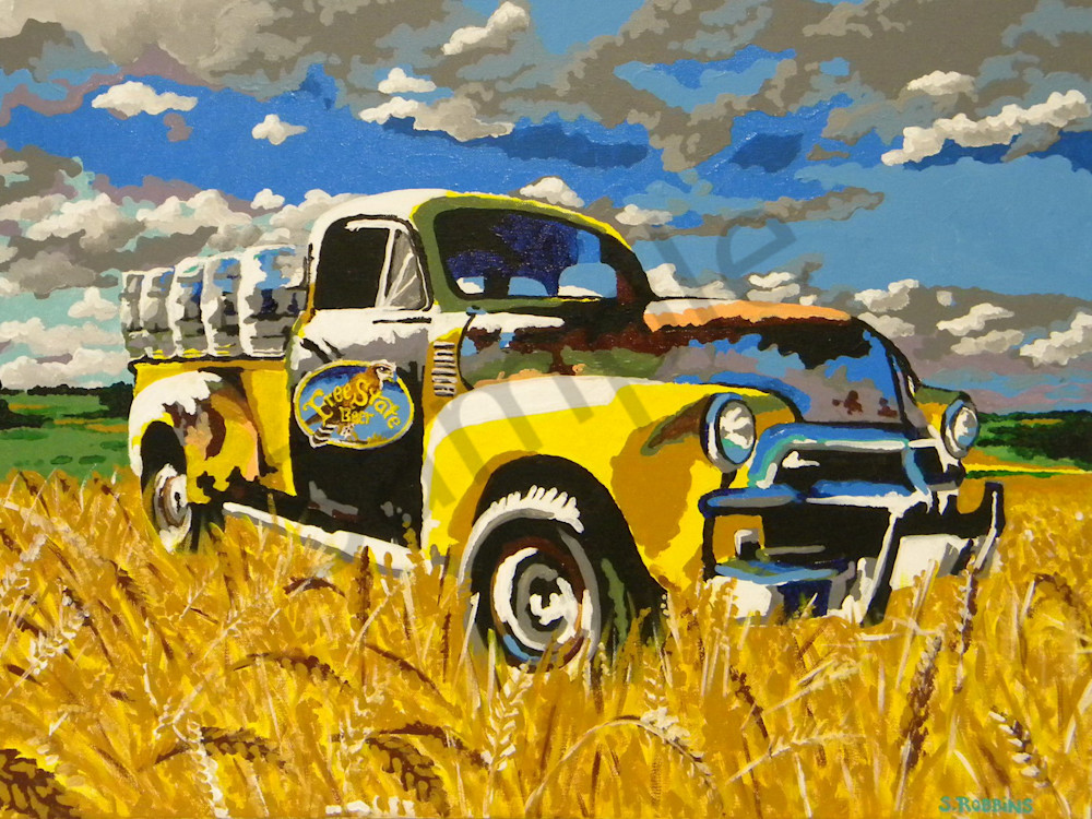 old truck beer wheat field