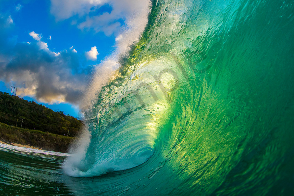 Wave and Surf Photography | Waimea Bay Green Room by William Weaver