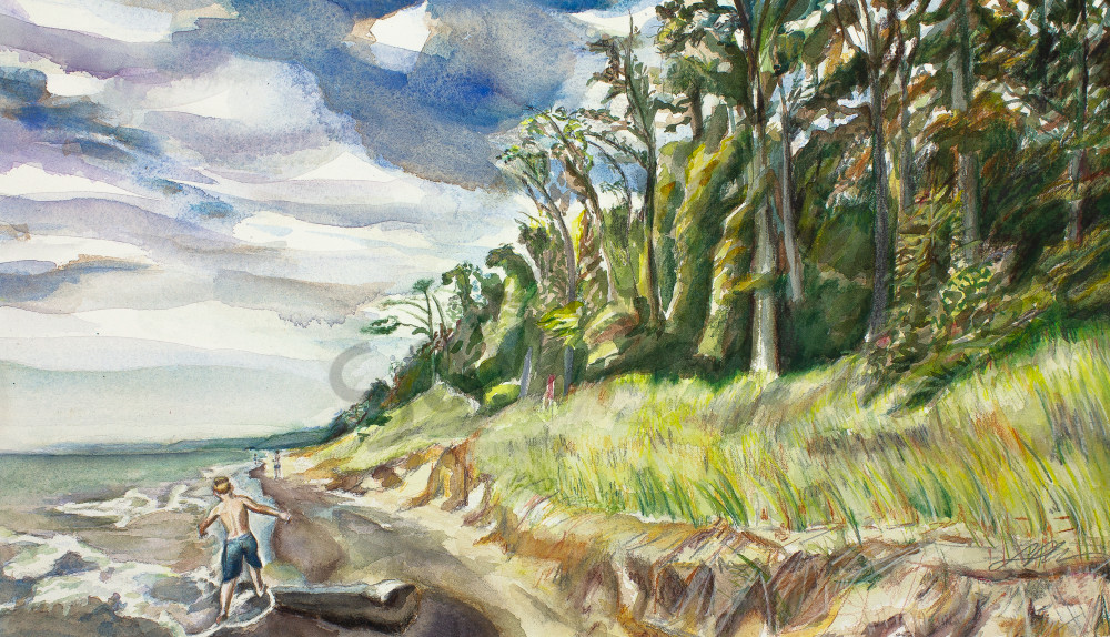 A young boy skips over a log on the beach while the dune grasses glitter and the tall trees stretch out along Lake Michigan. Available in paper and canvas.