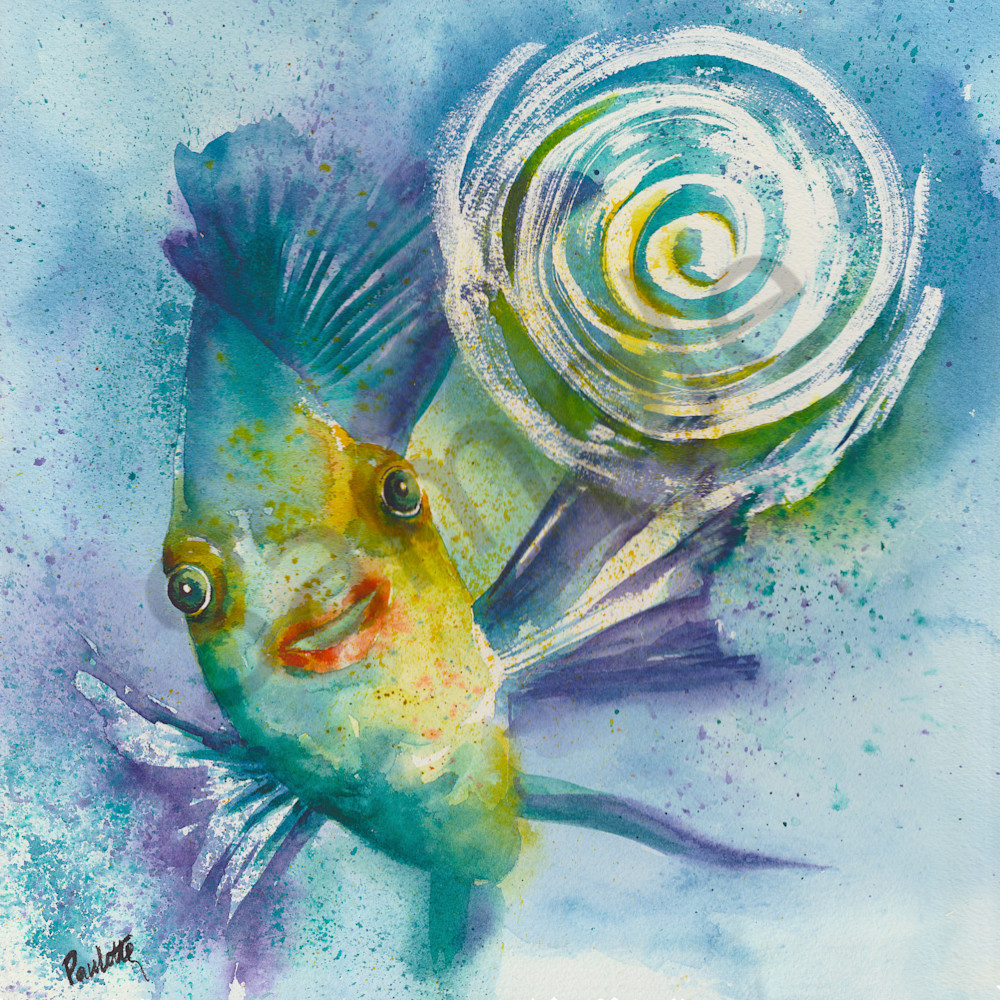 Bright, powerful Fish watercolor by Boudreau-Art