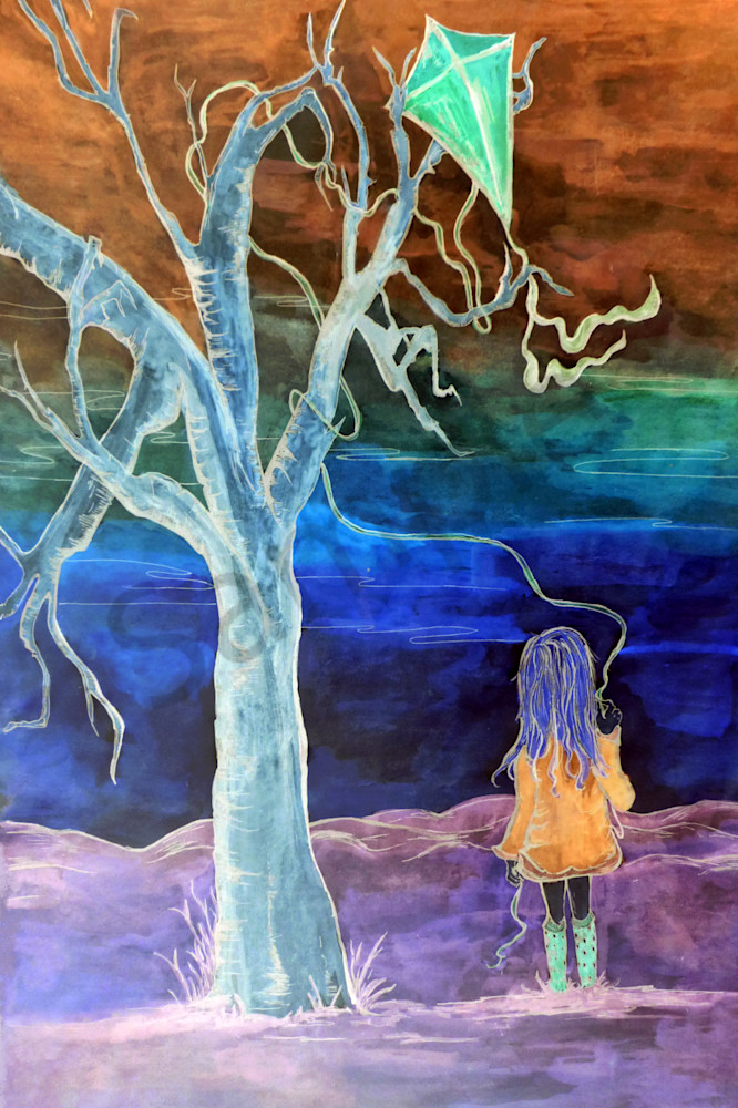 Artwork of girl and kite