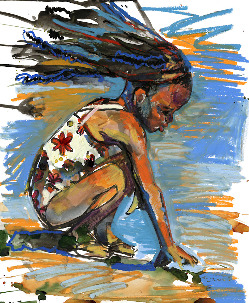 Painting for sale of a Girl Playing on the Beach
