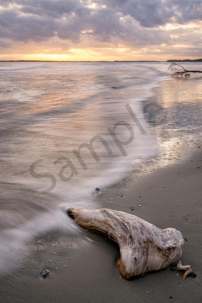 Folly Beach Sunset South End Log