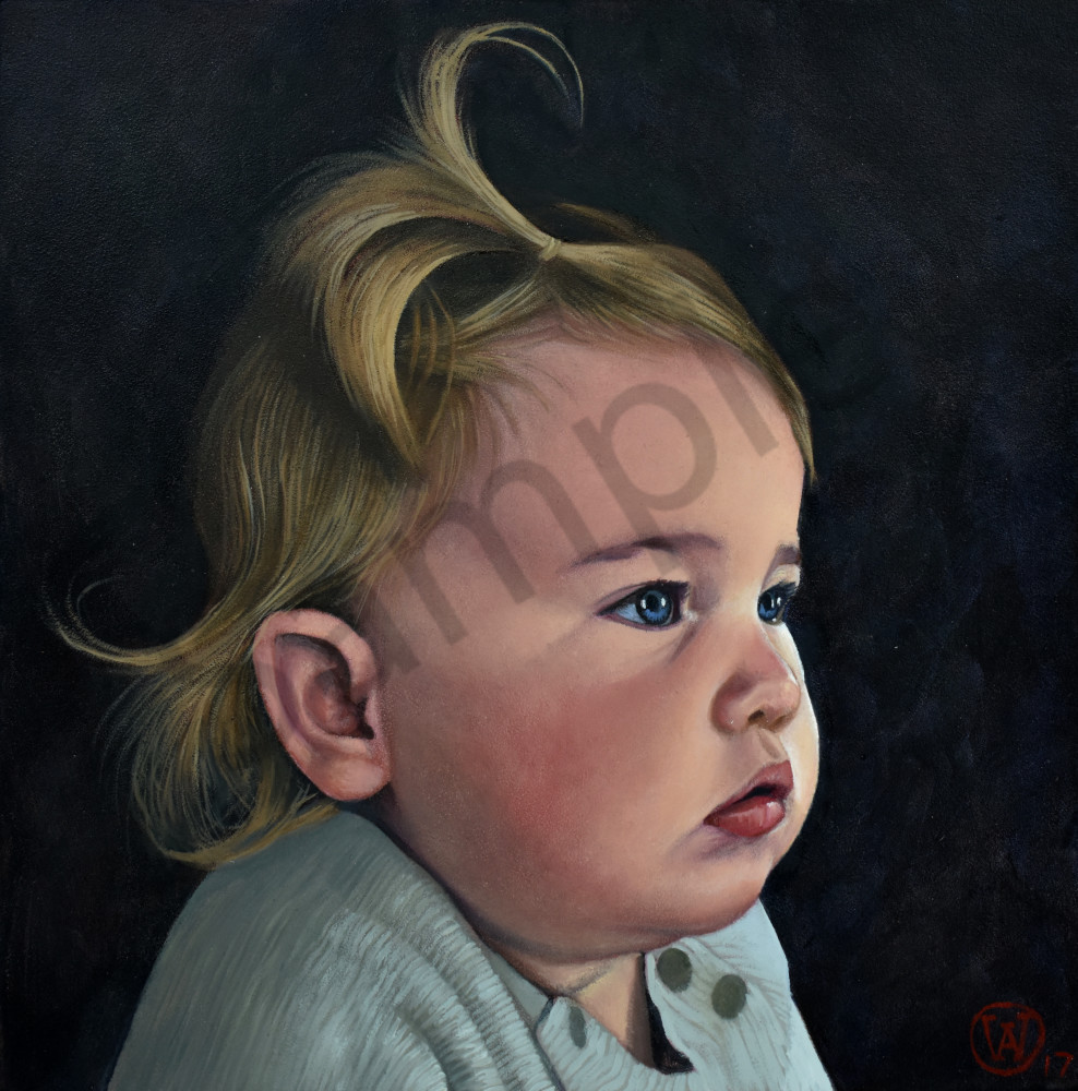 Oil portrait of a baby girl