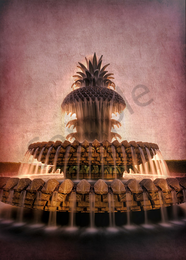 Pineapple Fountain Textured Image