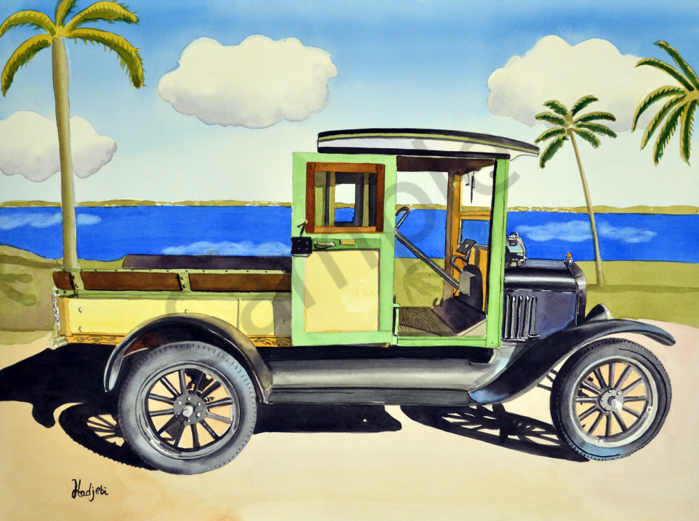 Model T Ford Truck A Watercolor Painting By Shah Hadjebi