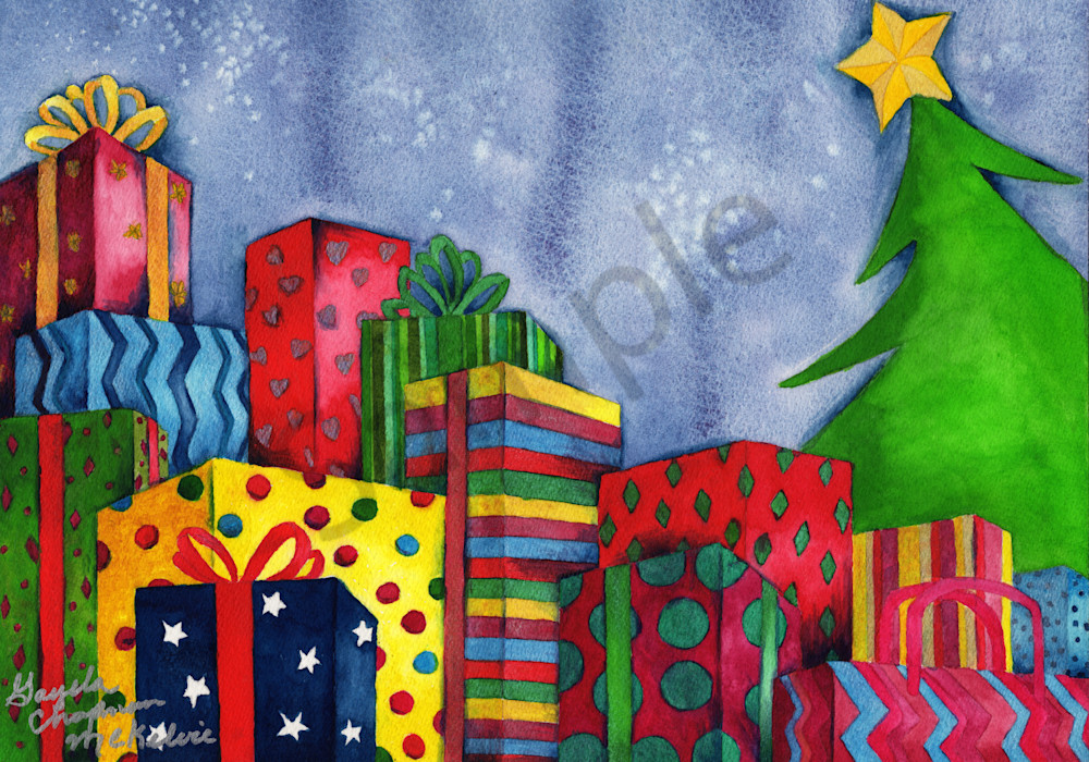 Christmas Art by Gayela's Premiere Watercolors Main Store