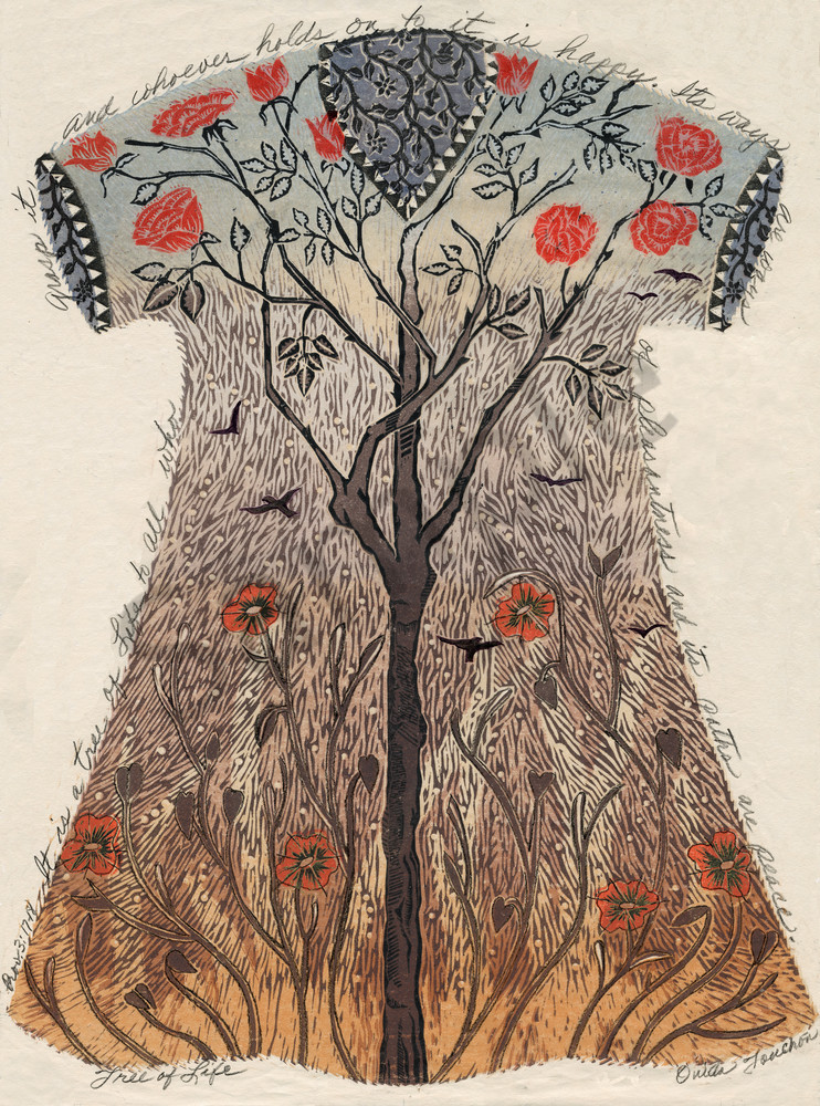 Tree of Life, woodcut print as fine art by Ouida Touchon