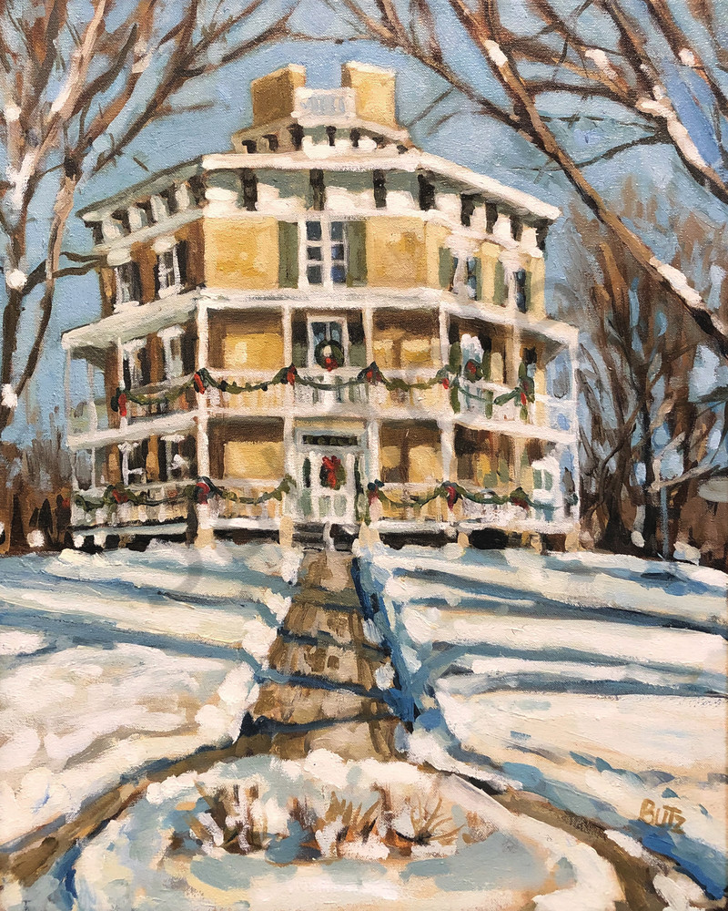 Octagon House In Winter Art | Geoffrey Butz Art & Design Inc