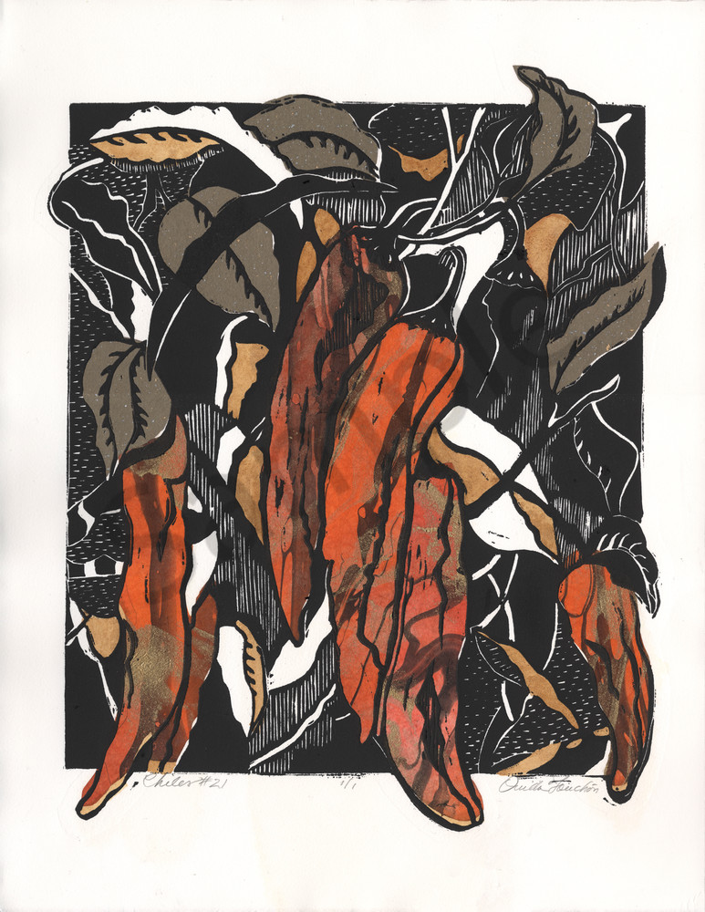 Chiles 21, gorgeous designed woodcut print with colors of red chiles, Ouida Touchon