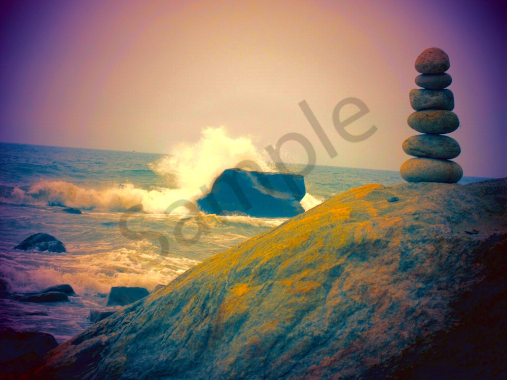 Cairn and Crashing Wave|Fine Art Photography by Todd Breitling