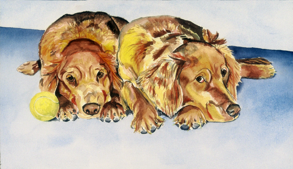 Watercolor painting of Retriever puppy done with muted colors. Art by Susan Kraft