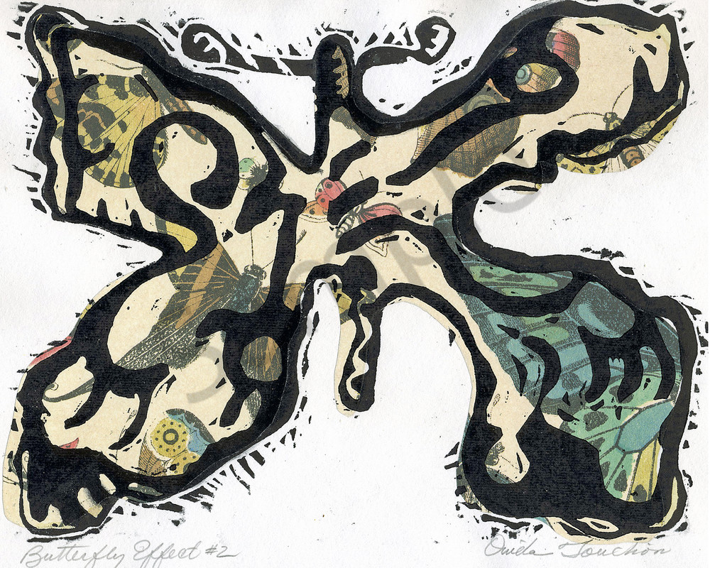Butterfly Effect 2, handprint art with collage for sale | Ouida Touchon