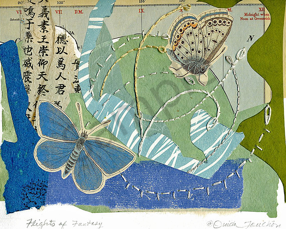Flights of Fantasy, chine colle collage with hand stitching, fine art by Ouida Touchon for sale