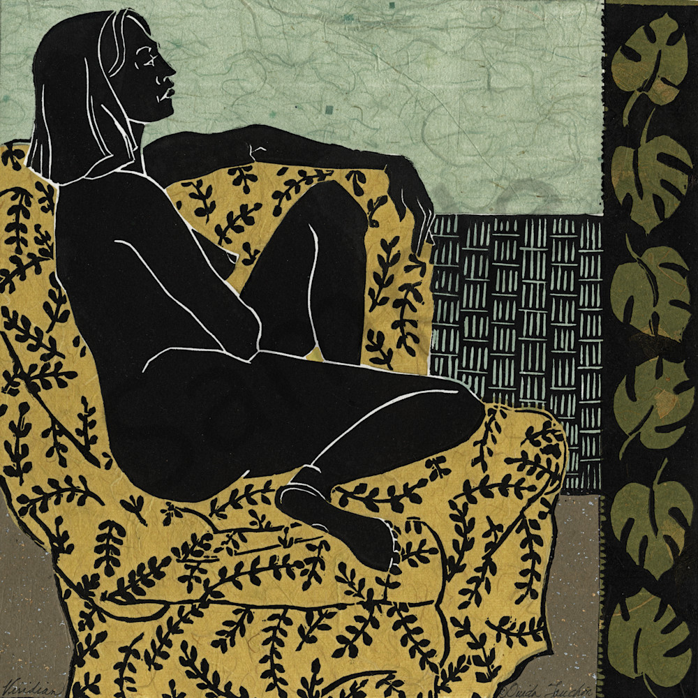 Viridian, linocut for the Languor Series| women in art by Ouida Touchon