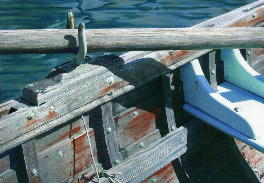This weathered old wooden row boat by / Colleen Nash Becht