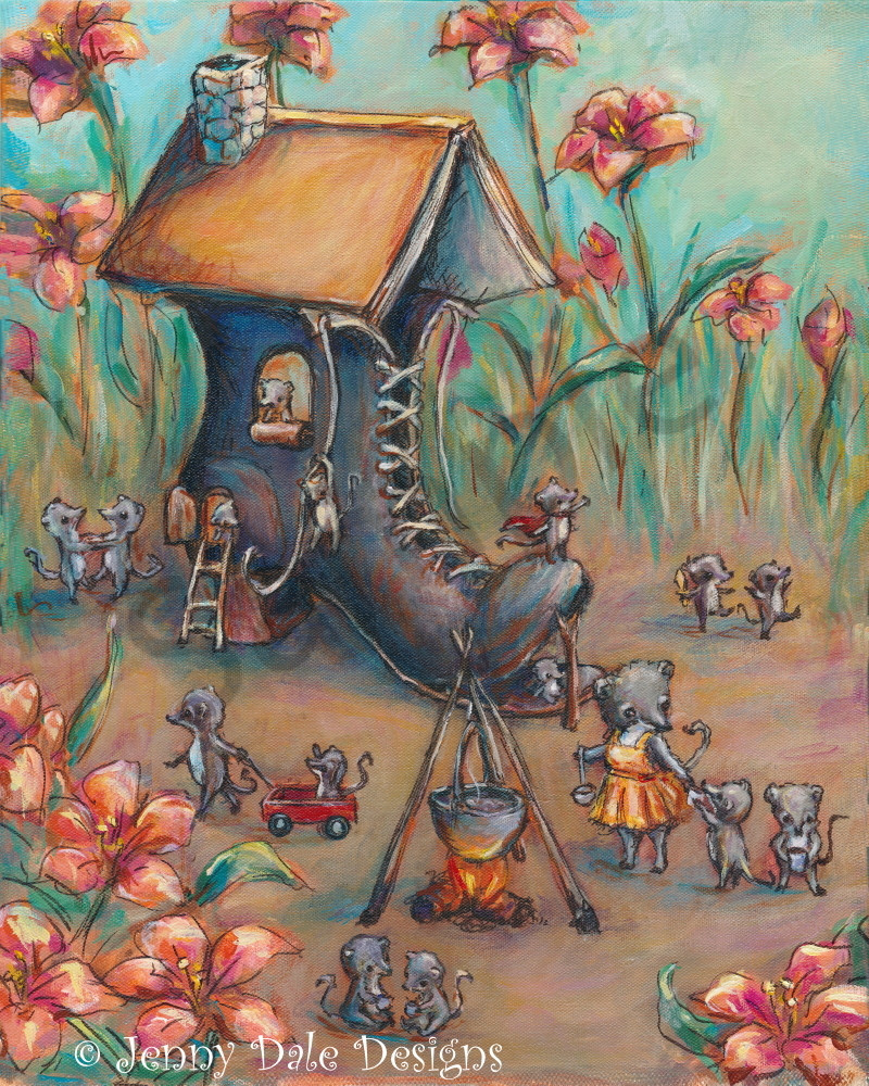 The Shrew in a Shoe   Nursery Rhyme Art