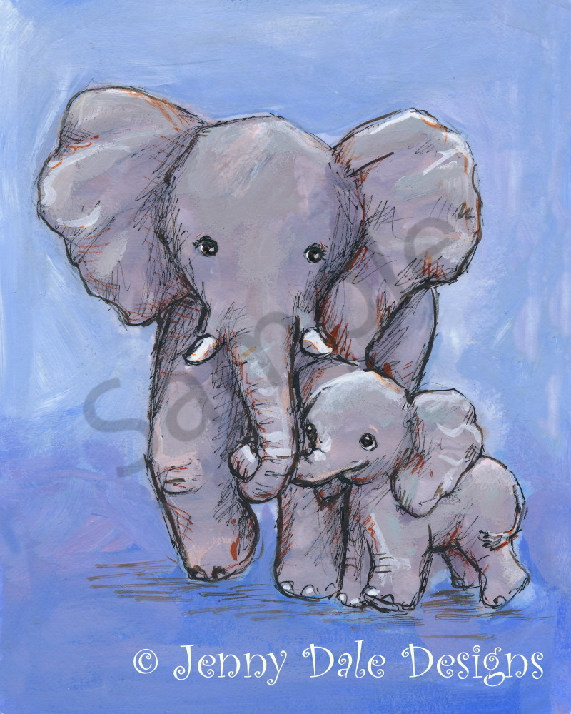 Elephant Mom And Baby Art | Jenny Dale Designs