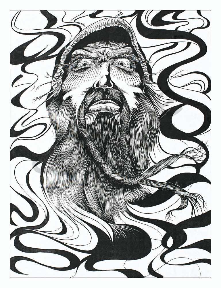 Wizard smoke black and white pen and ink