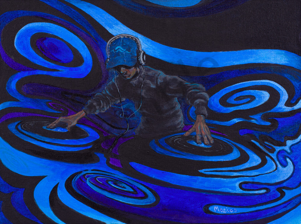 The elements dj water acrylic painting on canvas hip hop two turn tables