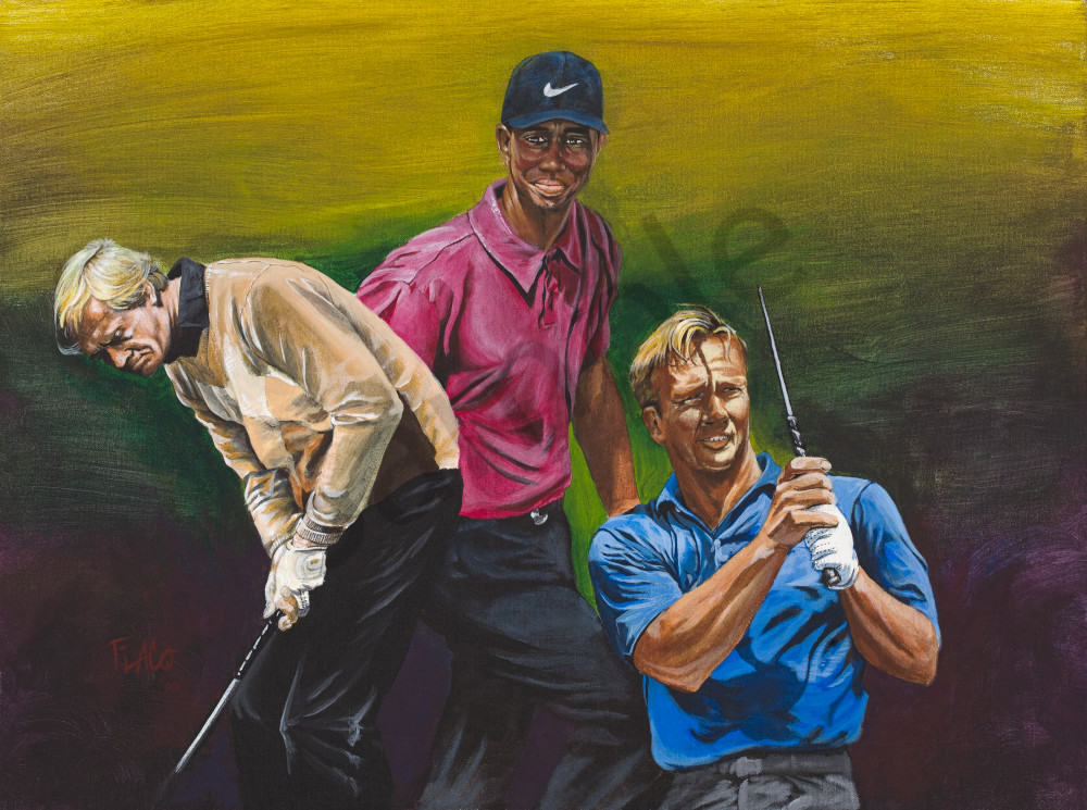 The masters - Tiger Woods, Jack Nicklaus, Arnold Palmer acrylic on canvas