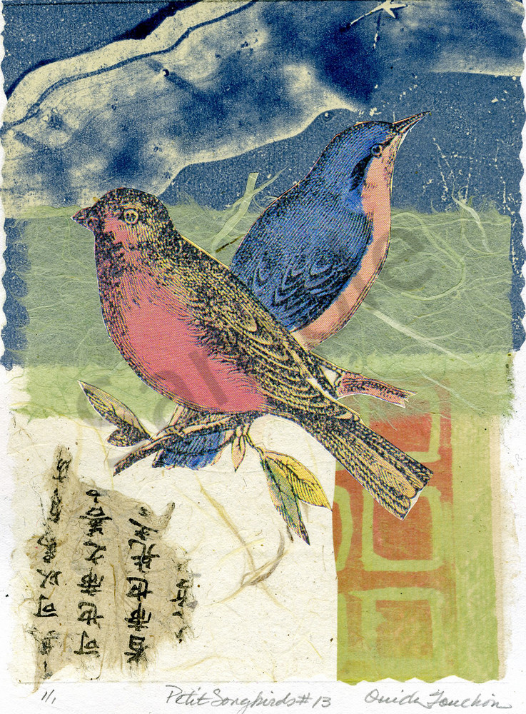 Petit Songbirds 13,  charming and whimsical collage compositions for sale by Ouida Touchon