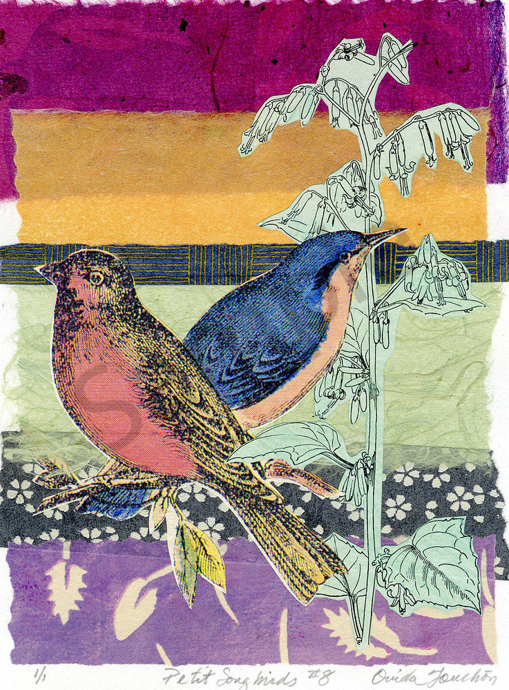 Petit Songbirds 8, charming and whimsical collage compositions of songbirds, for sale by Ouida Touchon
