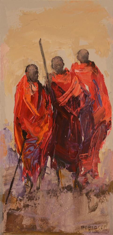 Three Maasai Warriors Art | Mary Roberson