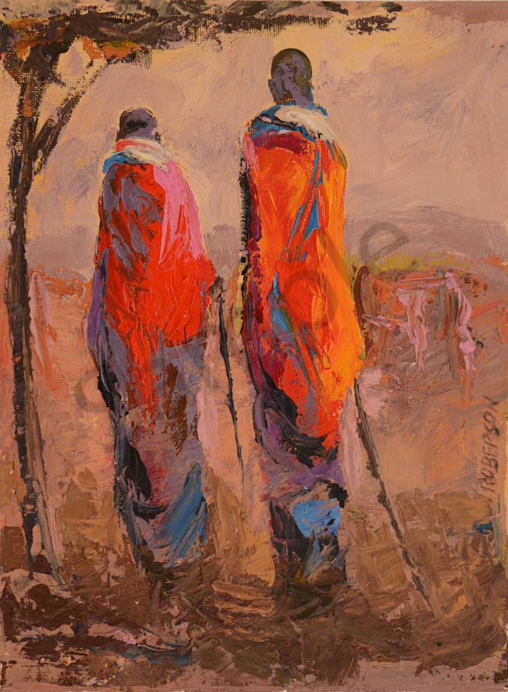 Tall Maasai Couple At Sunset Art | Mary Roberson