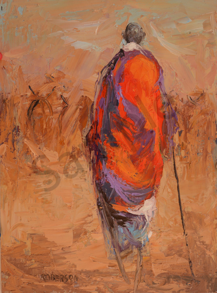 Tall Maasai Warrior Herding Cattle  Art | Mary Roberson