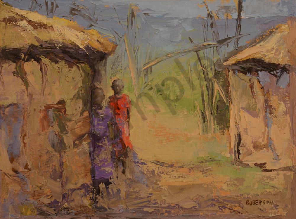 Two Maasai Girls At Hut Door  Art   Mary Roberson