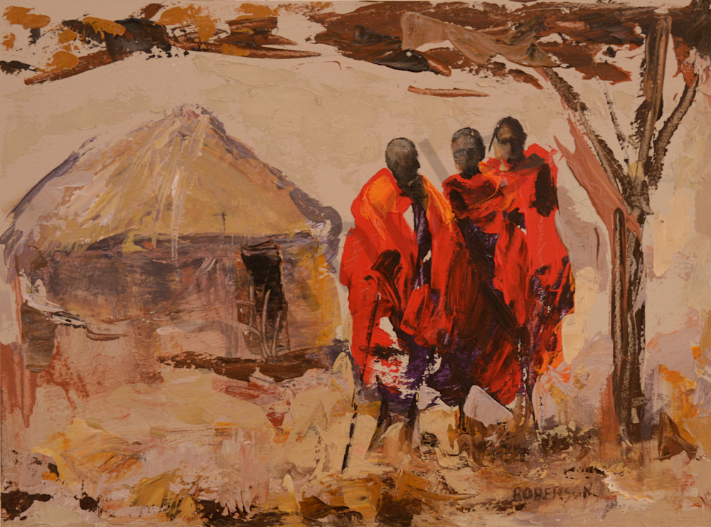 Three Maasai Warriors And Hut  Art   Mary Roberson