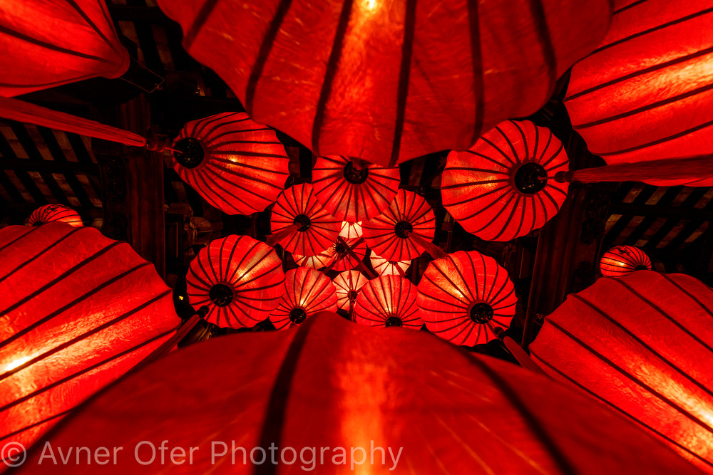 Red lanterns from below