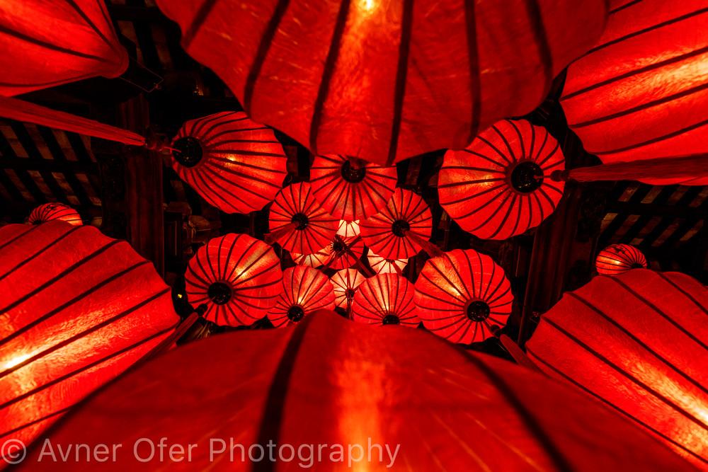 Red lanterns from below