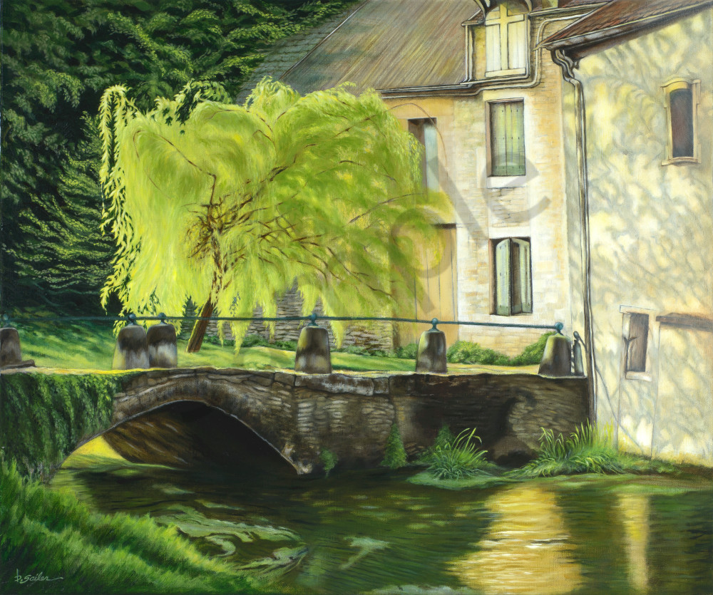 """""""Willow At Rue Du La Douix, Châtillon""""   France  Art   Bonnie Sailer Fine Art"""