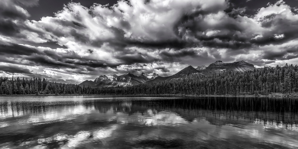 The view from Herbert Lake of Temple & Fairview Mtns. Banff national park|Canadian Rockies| Rocky Mountains|