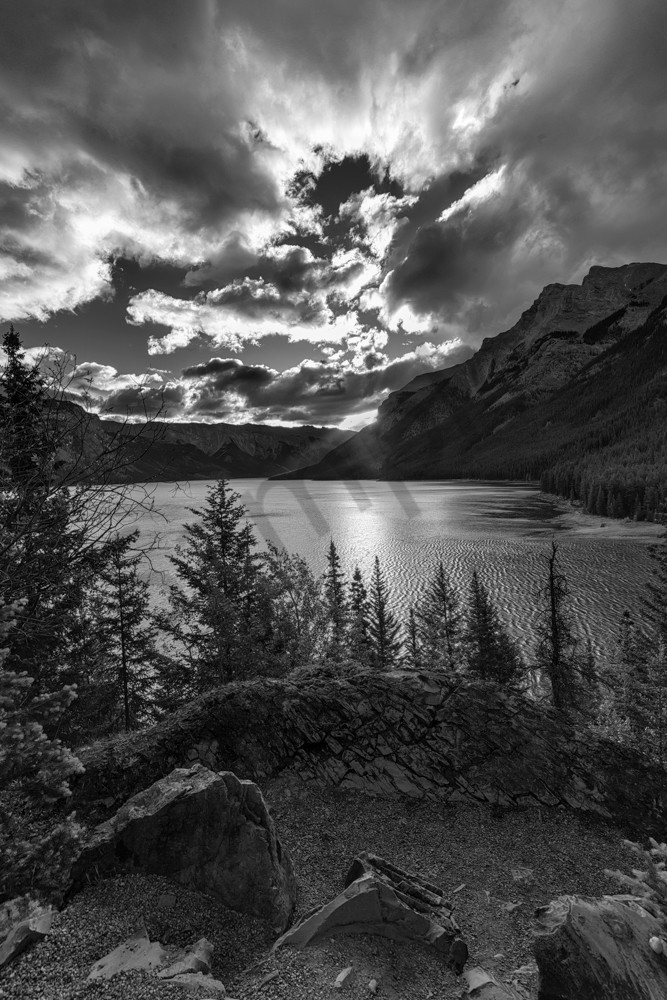 Morning Softly Breaks. Sun rise at Lake Minnewanka in Banff national Park |Canadian Rockies |