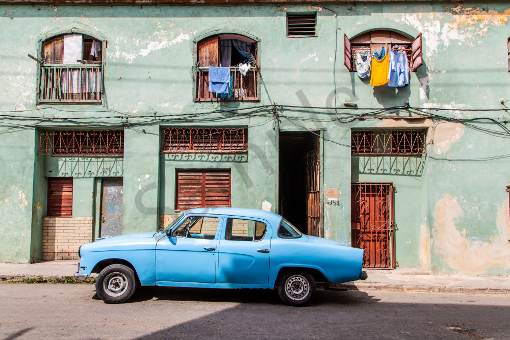 Blue Car in Havana: Travel Photography by Shane O'Donnell