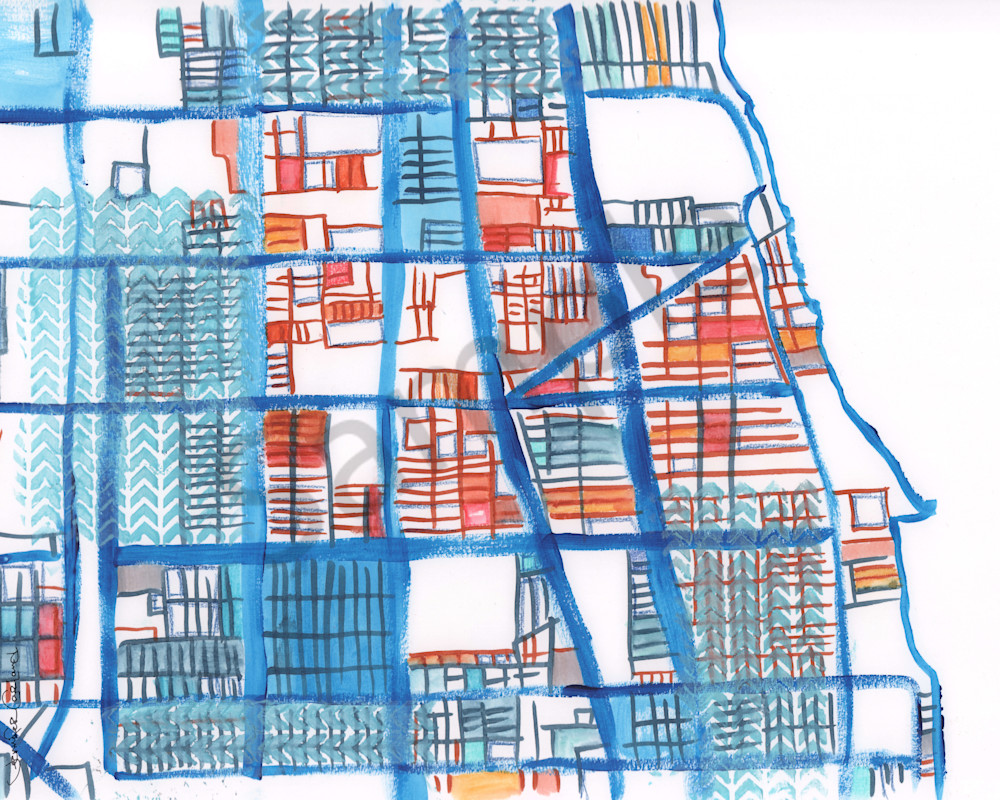 Chicago Neighborhood Art – Abstract Map Print of Rogers Park ... on