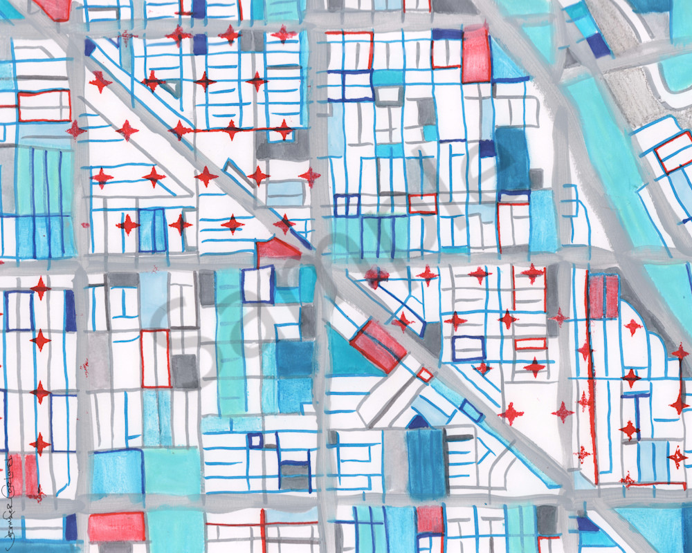Modern Chicago Neighborhood Map Art – Abstract City Map of Wicker Park - Purchase Neighborhood Map Print | City Neighborhood Art | City Neighborhood Print | Modern City Map by Carland Cartography