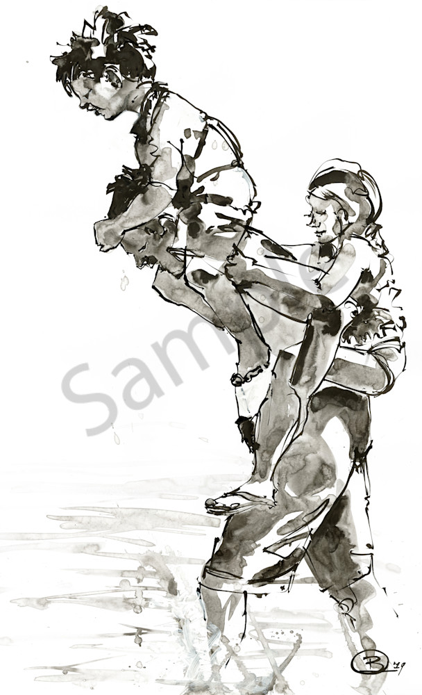 Ink painting of a dad carrying not one but two kids!