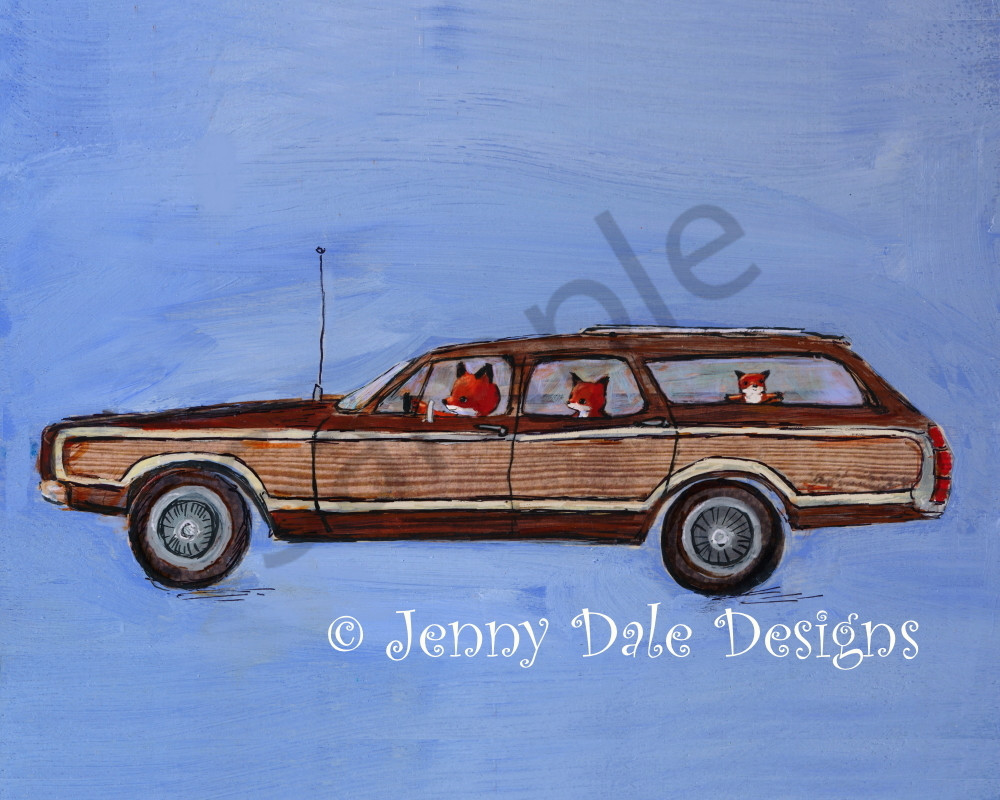 Fox Family in a Station Wagon