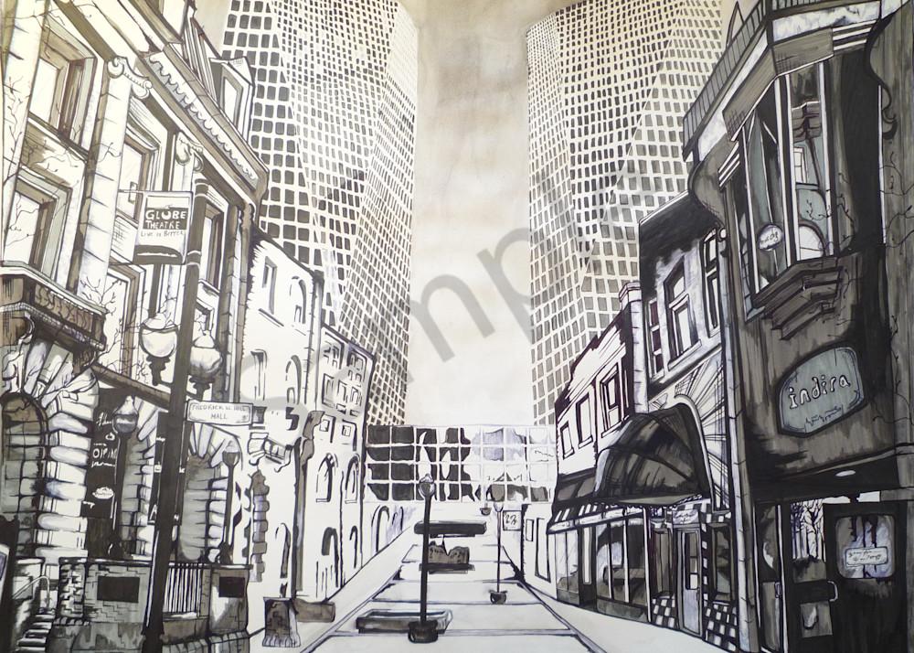 Building in Regina Saskatchewan depicting downtown street.