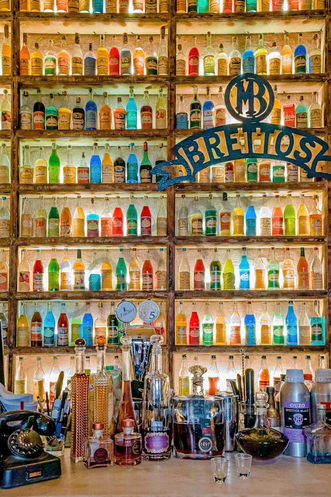 Wine Bar, Plaka district,  ouzo,  colorful bottles, Greek liqueurs