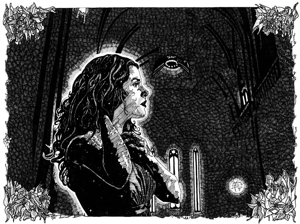 Beautiful woman in church